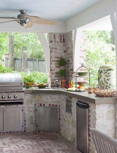 outdoor kitchen. Use design for indoor kitchen with big windows?