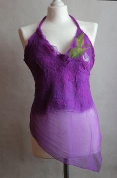 Nuno felted top halter top purple chiffon silk merino by EsartFelt