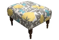 grey and yellow ottoman