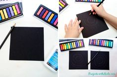 Create easy Kandinsky art for kids using chalk pastels and glue! Learn this simple pastel technique to make colorful circle art that kids will love! Chalk Pastel Art, Pastel Watercolor, Chalk Pastels, Kandinsky Art, Circle Art, Encaustic Painting, Illuminated Letters, Watercolor Techniques, Linocut Prints