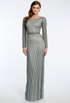 Diamond Bead Long Sleeve Prom Dress #camillelavie #CLVprom