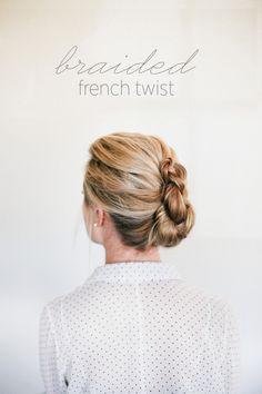 Braided French Twist How To via oncewed.com