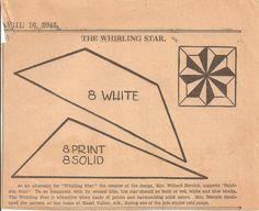 Whirling Star Patchwork Original Newspaper Kansas City Star Quilt Block Pattern