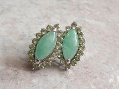 Jadeite Peridot Earrings Marquise Shape Sterling by cutterstone