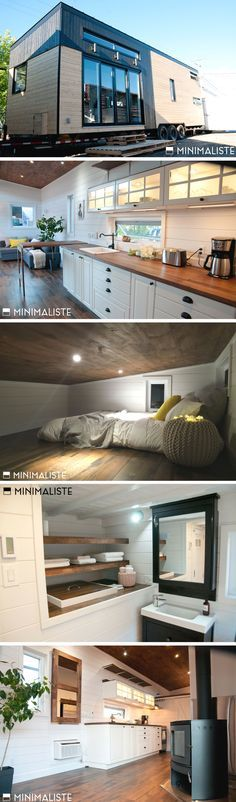 "I adore this house! The ""Le Chene"" tiny house. A beautiful 300 sq ft home, designed and built by Minimaliste. Tyni House, Tiny House Living, Living Room, Tiny House Movement, Tiny House Plans, Tiny House On Wheels, Tiny House Nation, Tiny Spaces, Tiny House Design"