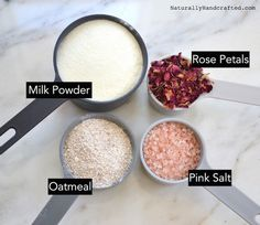 ingredients for rose petal milk bath