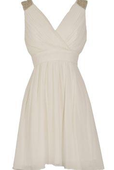 Stella Beaded Shoulder Chiffon Designer Dress in White  www.lilyboutique.com