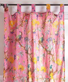 Love this Pink Bird Curtain Panel on #zulily! #zulilyfinds