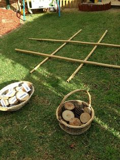 This is such a simple activity for the great British summer! Outdoors noughts and crosses, and you can label your pieces for added literacy and learning skills!