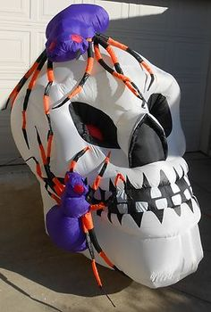 GEMMY SPIDER INFESTED SKULL Halloween Inflatable Lighted Yard Decor  have 2