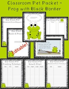 This is an 8-page packet with printables all related to your beloved class pet frog!  $3.00 Editable Rules