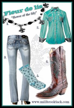 Ladie's Western Wear: Flaunting the Fleur De Lis - love the turquoise color of the Roar shirt and love, Love, LOVE the Corral cowboy boots!