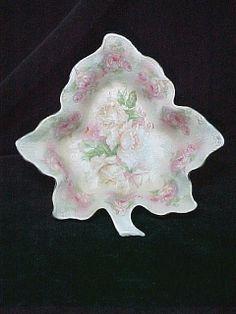 Royal Bayreuth Pink Rose Tapestry Leaf Dish