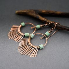 boho earrings • tribal • ethnic chic • circle earrings • turquoise glass • handforged copper • fringes • fan • boho chic • rustic • paddles by entre2et7 on Etsy
