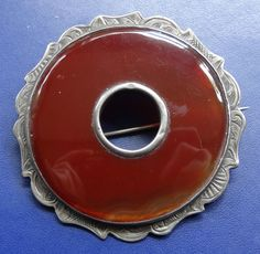 "antique Victorian 2.25"" Scottish SILVER carnelian agate flower brooch c pin"