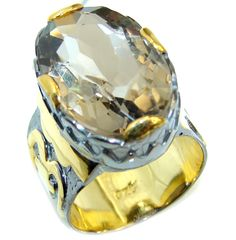$72.95 Just+Beautiful+Champagne+Smoky+Topaz+Gold+Rhodium+plated+Sterling+Silver+Ring+s.+9+1/4 at www.SilverRushStyle.com #ring #handmade #jewelry #silver #topaz