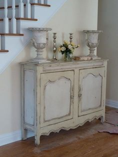 white + cream french buffet table with curvy lines