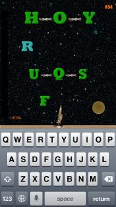Letterorites - Original Typing Game - This game is perhaps the best defense of the learn-to-type genre we've seen yet. It's not the only iPhone typing game, but it's a solid entry. Letters fall from the sky, and it is your duty to type them out as rapidly as you can. You'll gain coins (points-ish) and shoot up through the levels. Like any arcade game, that's the goal here, and the game will even track your leader board progress—globally and locally. Click the image for our full review.