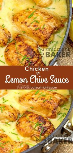Easy one-pan chicken dinner in a tangy lemon chive sauce. Easy one-pan chicken dinner in a tangy lemon chive sauce. Healthy Recipes, Entree Recipes, Cooking Recipes, Dessert Recipes, One Pan Chicken, Yum Yum Chicken, Chicken Pan Sauce, Baked Chicken, Chicken