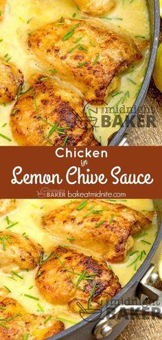 Easy one-pan chicken dinner in a tangy lemon chive sauce. #recipe #chicken #skilletdinner #lemon