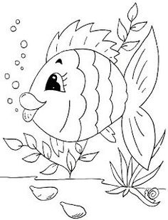 Art Drawings For Kids, Easy Drawings, Applique Patterns, Applique Quilts, Coloring Book Pages, Coloring Sheets, Fabric Painting, Painting & Drawing, Fish Art