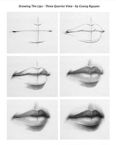 Tutorial by @icuong ! Love his work. - Tag #artist_features and follow @artist_features to discover more art! Mouth Drawing, Sketch Mouth, Drawing Faces, Realistic Face Drawing, Nose Drawing, Sketch Of Lips, Easy Realistic Drawings, Sketch Nose, Female Face Drawing