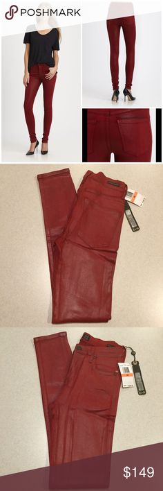 "Citizens Of Humanity Jeans 26X31 Rocket Vamp Red! Citizens of humanity jeans NEW WITH TAGS! Sold for $229.00! The rocket highrise skinny Vamp red leatherette coated wash Modeled pictures are of exact fit and wash Style # 1416-818 Size 26 31 inch unaltered skinny inseam 13"" across high waist, 9.5"" rise A super sexy medium red leather feel coated denim with an amazing stretch! The most trendy skinny fit right now! Don't miss! 