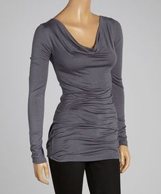 Gray Drape Neck Tunic by sun n moon