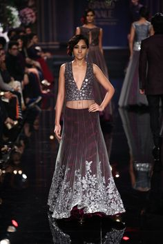 Manish Maholtra Grand Finale Burgundy Lacha #Lehenga With Floral & Mirror Work Embroidery At Lakme Fashion Week 2014.