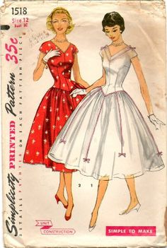 1950s Perfect Party Dress Pattern ~ Full Skirt with Contrast Ribbon & Bow Trim ~ Figure Flattering Long Line Bodice ~Vintage Simplicity 1518 by VivsVintageSewShop on Etsy