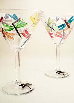Multicolor dragonflies hand painted martini glasses  by RaeSmith, $36.00
