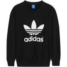 adidas Originals Trefoil cotton-blend jersey sweatshirt, Women's,... found on Polyvore featuring tops, hoodies, sweatshirts, shirts, sweaters, sweatter, sweatshirt, sweatshirt hoodies, shirts & tops and low top