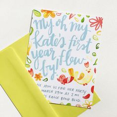 1st Birthday Invitation by @alliebmcrae featuring watercolor illustrations and hand-drawn type