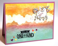 Magical Day Unicorn Card - Double Blending Oxidized Blended Ink Background