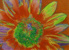 """Sunnectar"" 12 x 16"" watercolor crayon on Aquabord, 2015. By Cris Fulton, Bowman, North Dakota."