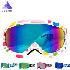 VECTOR Children Ski Goggles Double Lens Girls Boys Skiing Snowboard Glasses Kids Winter Snow Child Eyewear UV400 Anti-fog HXJ200