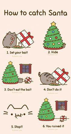 Pusheen the Cat: Merry Christmas cat setting Christmas Santa trap! Pusheen Christmas, Christmas Comics, Christmas Humor, Christmas Time, Santa Christmas, Winter Christmas, Christmas Christmas, I Love Cats, Crazy Cats