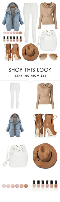 """Jean Jacket"" by maja-el-aly ❤ liked on Polyvore featuring Frame Denim, Jimmy Choo, Mansur Gavriel, Eugenia Kim, Deborah Lippmann and Ray-Ban"