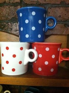 Fiesta® Red, White, and Blue ~ Lapis, White and Scarlet Polka Dot HLCCA Exclusive Mugs made by Homer Laughlin China | WorthPoint