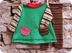 Para mi peque con amor: Jersey-túnica multicolor de la revista ottobre y leotardos (bebé)