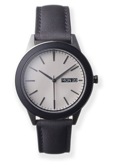 The Uniform Wares 351 Series Brushed Steel/Grey Leather Watch is inspired by the simple beauty of mid-century British and North American design and the effortless cool of the 50s silver screen era. High-calibre, Swiss-made ETA 7-jewel day/date movement. German-made, Italian calf leather strap.Domed, scratch-proof sapphire lensMatt-black ceramic set bezel. Matt alabaster dial with black date aperture. http://zocko.it/LD3ku