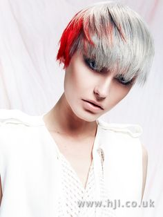 Choppy pixie crop with grey and bright red pannelling - Hairstyle Gallery