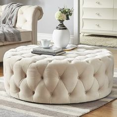 Bring casual seating to your living room or den with this playful ottoman. Boasting the button tufted accents, it allows for breathing space while you relax and limits the amount of heat that is generated. Tufted Ottoman Coffee Table, Round Tufted Ottoman, Ottoman Decor, White Ottoman, Tuffed Ottoman, Pink Ottoman, Cocktail Ottoman, Small Apartment Decorating, Home Furniture
