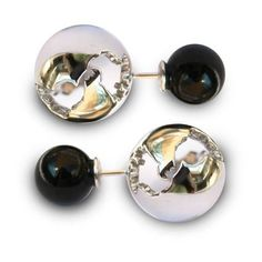 Cristina Ramella Globe And Pearl Earrings ($304) ❤ liked on Polyvore featuring jewelry, earrings, pearl jewelry, cut out earrings, pearl earrings jewellery, cut out jewelry and pearl earrings
