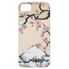 iPhone case inspired by traditional Japanese art and Kimono - Fuji mountain and Sakura Tree