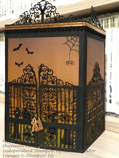 Detailed Gate Thinlits Dies by Stampin' Up. I made this cute Halloween lantern today.