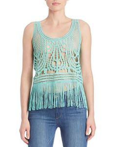 California Moonrise Fringed Crocheted Lace Tank Top Women's Turquoise