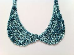 Sparkly Collar Necklace Turquoise Sequin and by SHECHICEXCLUSIVE, $34.90