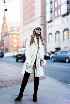 Pam Hetlinger, The Girl From Panama wearing a Chicwish Coat, Camel Turtleneck, Forever21 Pom Pom Beanie, Black Skinny Jeans, Mango booties and Forever 21 Scarf