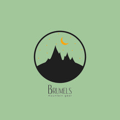 Brumels mountain gear, mountain, circle, logo, hiking, moon, stars, green, yellow, black, camping, climbing, inspiration, tenting, silhouette, illustrator, photoshop, clean, night sky, Brumels design, art, graphic design